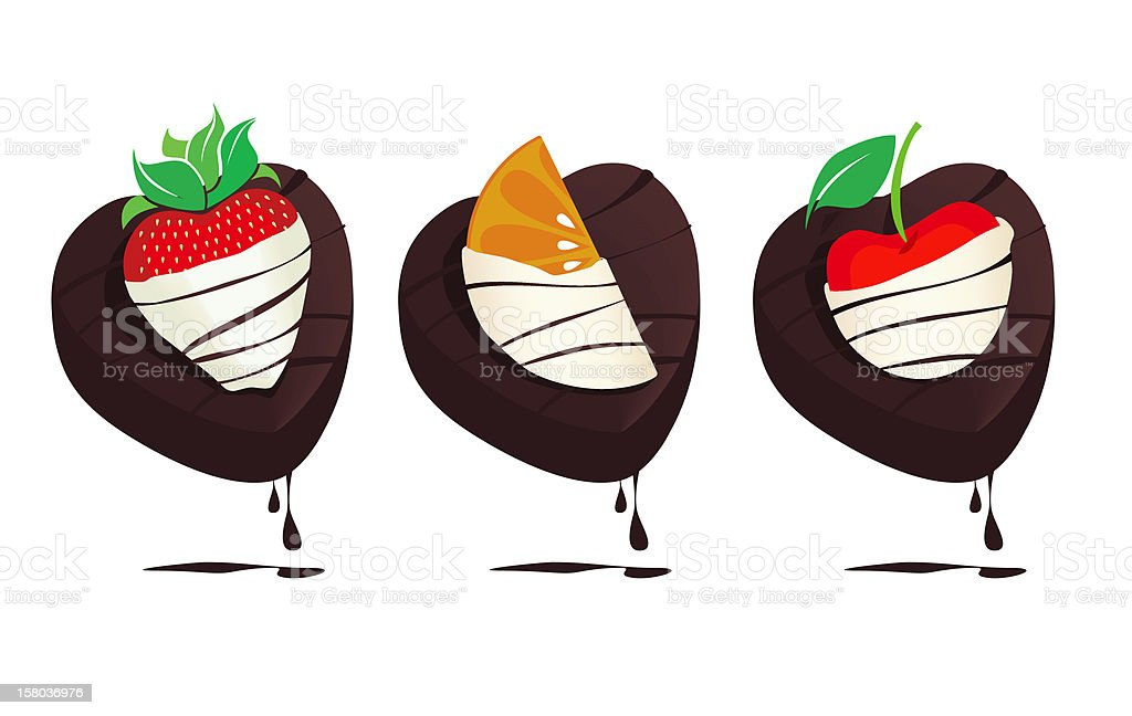White Chocolate Fruit and Cake royalty-free stock vector art