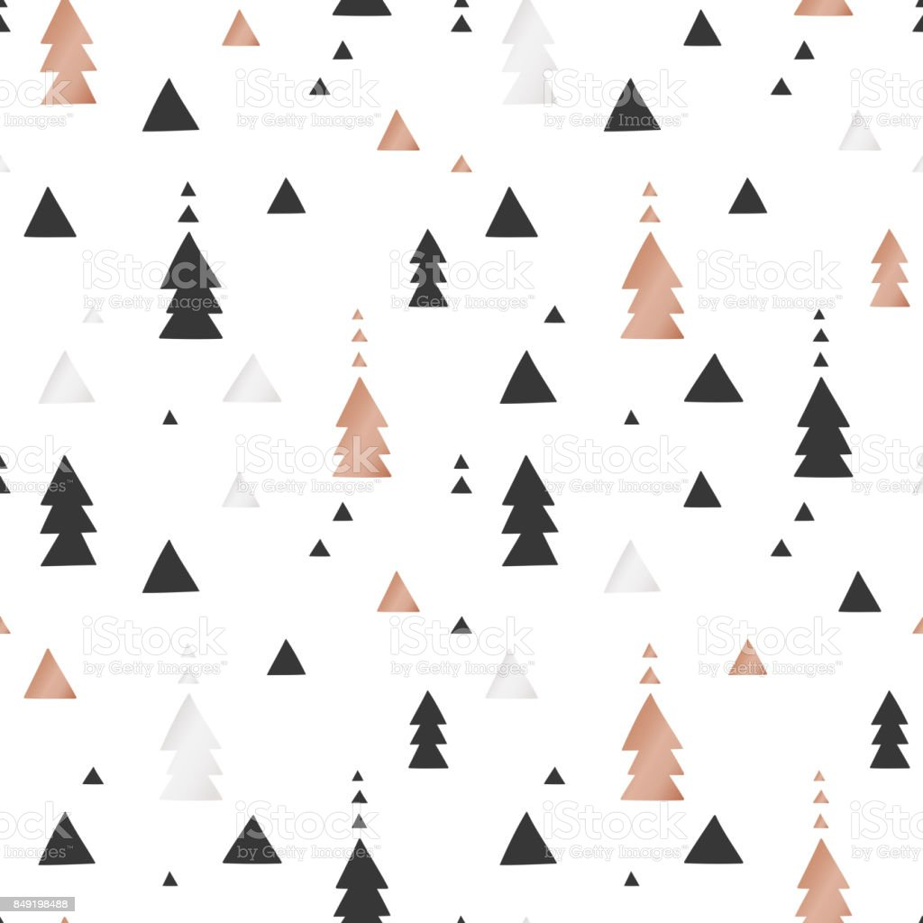 White Christmas and New Year's wrapping paper with triangles of gold and bronze foil. Seamless vector pattern vector art illustration