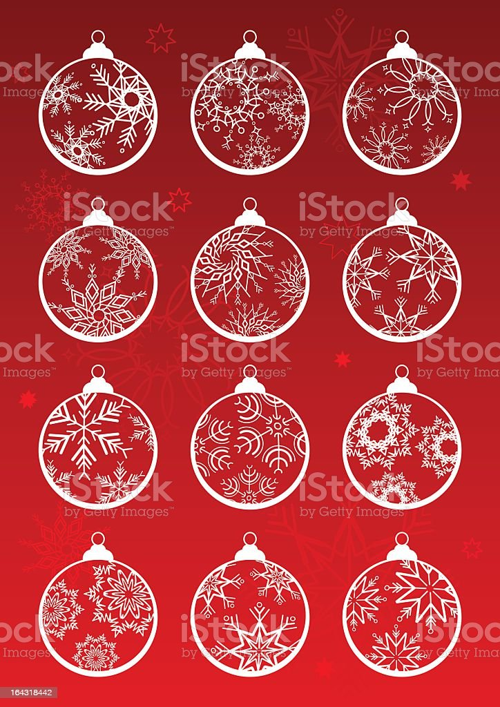 White Christmas baubles on a red background royalty-free stock vector art