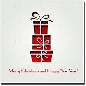 White Christmas card with red square gift boxes and text