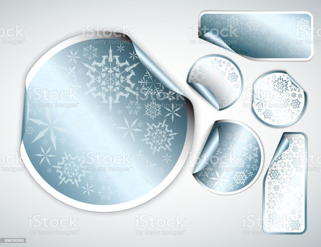 White Christmas labels and stickers with chrome border vector art illustration