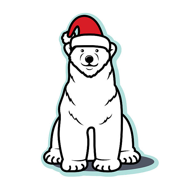 White Christmas polar bear with Santa hat vector art illustration
