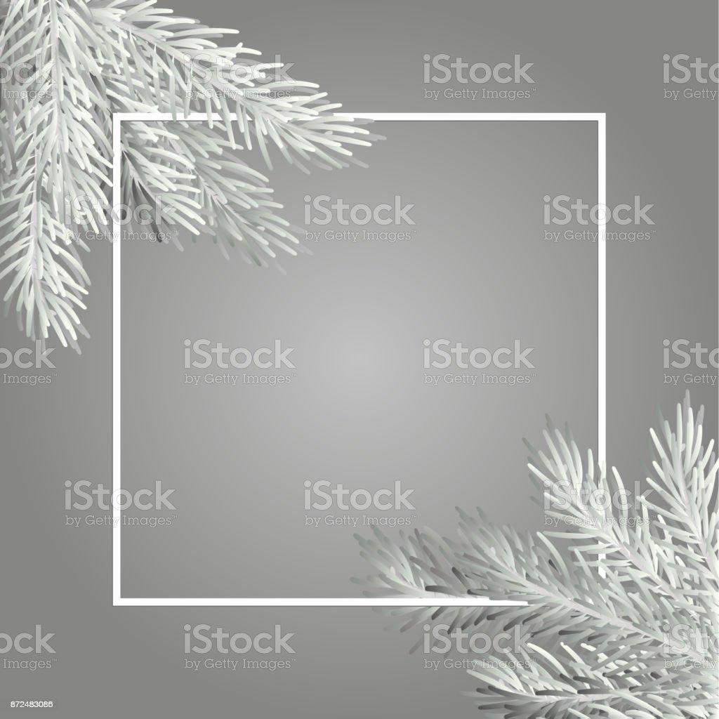 Ilustración de Rama De árbol De Navidad Blanco Con Un Marco Cuadrado ...