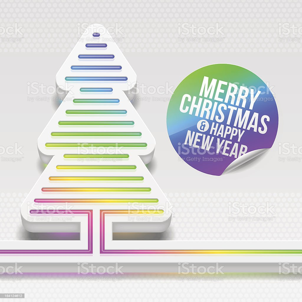 White Christmas tree with multicolored decor royalty-free stock vector art