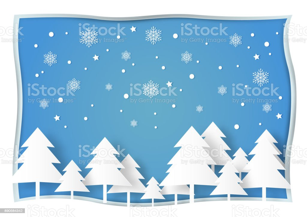 Vektör çizim Kağıt Sanat Tarzı Beyaz Noel Ağacı Kar Ve Kar Tanesi