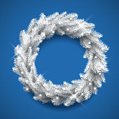 Very detailed vector illustration of a white winter Christmas wreath.