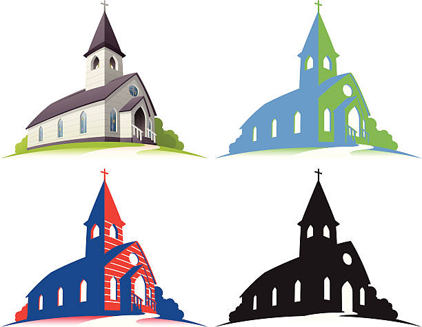 White Church Little white church illustration. Layered and grouped for ease of use. Download includes EPS8 and hi-res jpeg files. church stock illustrations