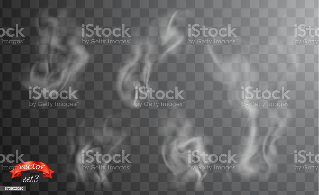 Beyaz sigara dumanı dalgalar. Kupası için karanlık ve şeffaf arka plan üzerinde beyaz sıcak Buhar. Duman yemek, çay ve kahve kümesi. Sihirli buharı, sis, bulut, gaz veya sis vektör çizim. Puslu koku vektör sanat illüstrasyonu
