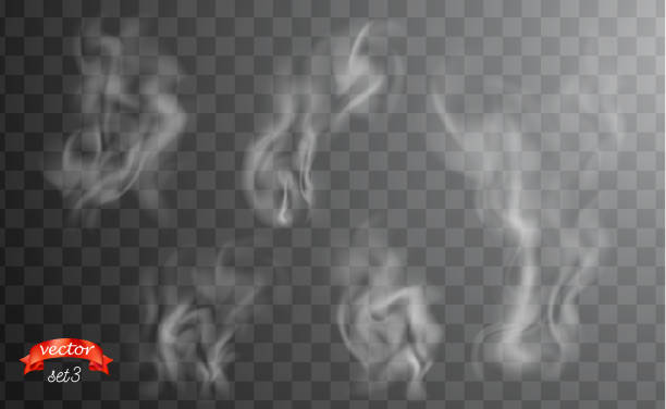 white cigarette smoke waves. white hot steam over cup for dark and transparent background. set of fume on food, tea and coffee. magic vapor, mist, cloud, gas or fog vector illustration. hazy fragrance - smoke stock illustrations