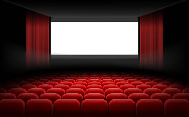 White cinema theatre screen with red curtains and chairs White luminous cinema movie theatre screen with red curtains and rows of chairs, realistic vector illustration, background. Concept movie premiere, poster with interior of a cinema and space for text projection screen stock illustrations