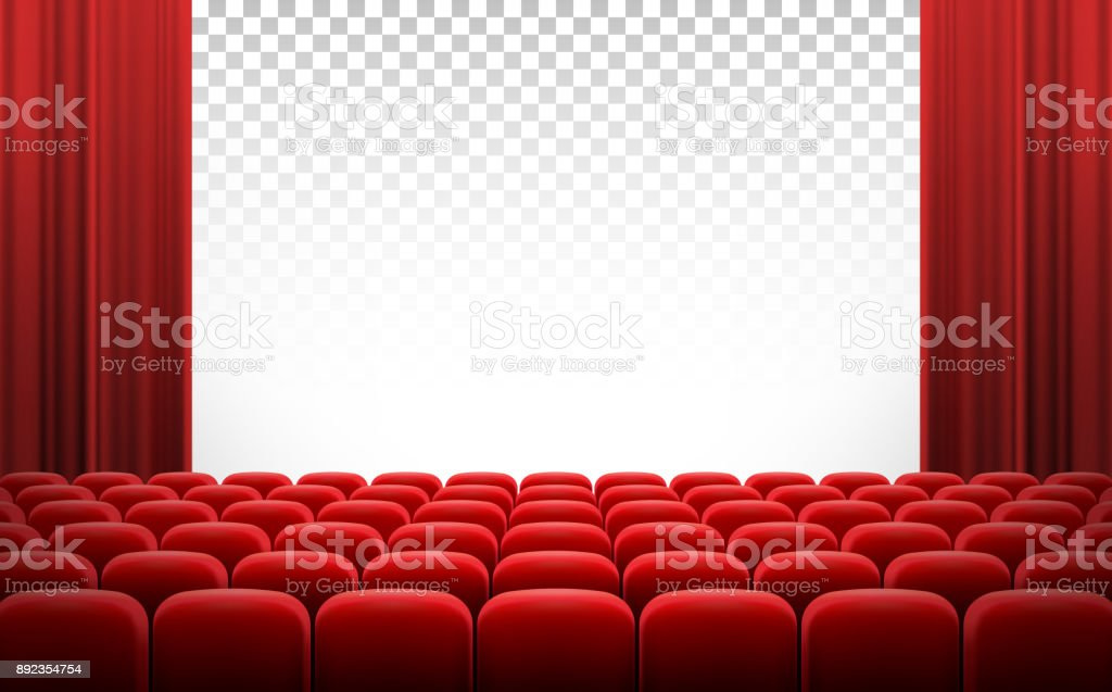 White cinema theatre screen with red curtains and chairs vector art illustration