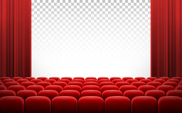 illustrations, cliparts, dessins animés et icônes de blanc: cinéma théâtre avec rideaux rouges et chaises - cinéma