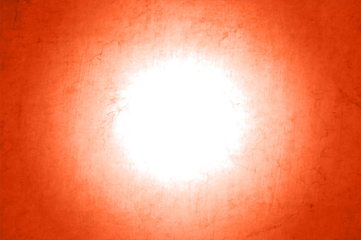 A white circle in the centre of vibrant rustic bright orange or brick red coloured empty and blank vector backgrounds in self grunge textured and gradient effect like an artist's oil painting