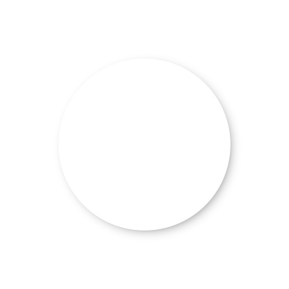 White circle with shadow on white background. Neumorphism button, normal state