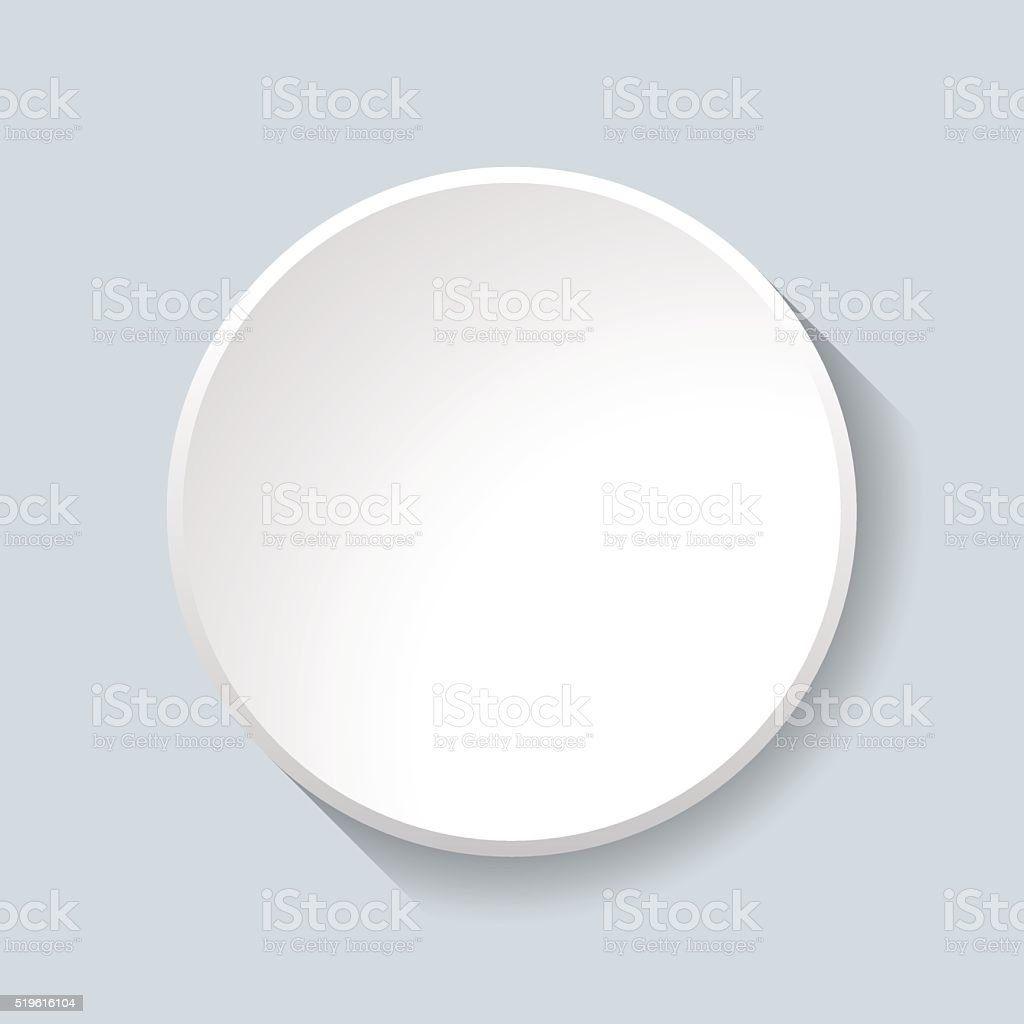 White Circular Plastic Button on Grey Background. vector art illustration