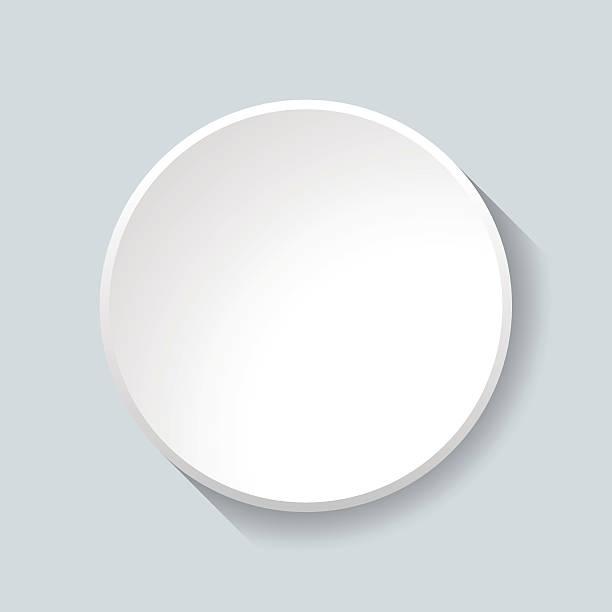 White Circular Plastic Button on Grey Background. vector art illustration