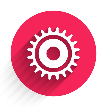 White Circular saw blade icon isolated with long shadow. Saw wheel. Red circle button. Vector Illustration