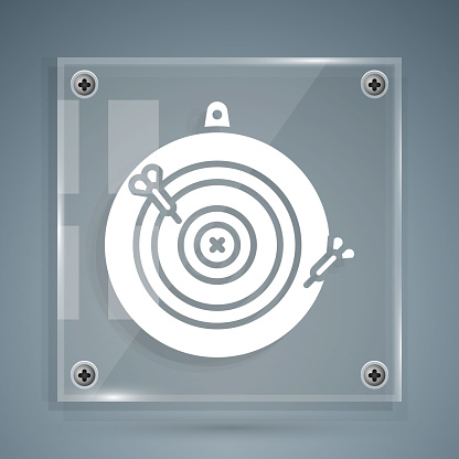 White Classic dart board and arrow icon isolated on grey background. Dartboard sign. Game concept. Square glass panels. Vector Illustration