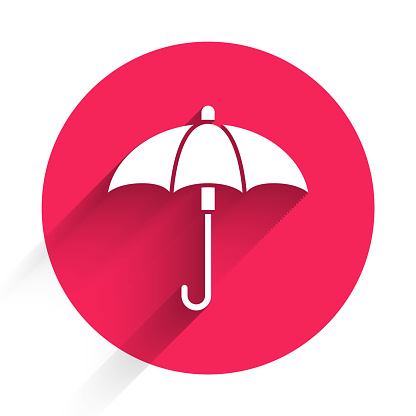 White Classic elegant opened umbrella icon isolated with long shadow. Rain protection symbol. Red circle button. Vector Illustration