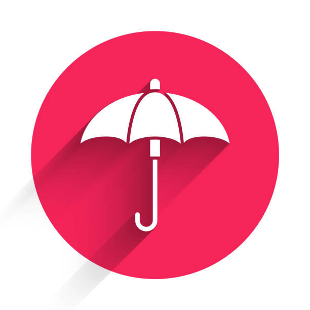 White Classic elegant opened umbrella icon isolated with long shadow. Rain protection symbol. Red circle button. Vector Illustration White Classic elegant opened umbrella icon isolated with long shadow. Rain protection symbol. Red circle button. Vector Illustration autumn clipart stock illustrations