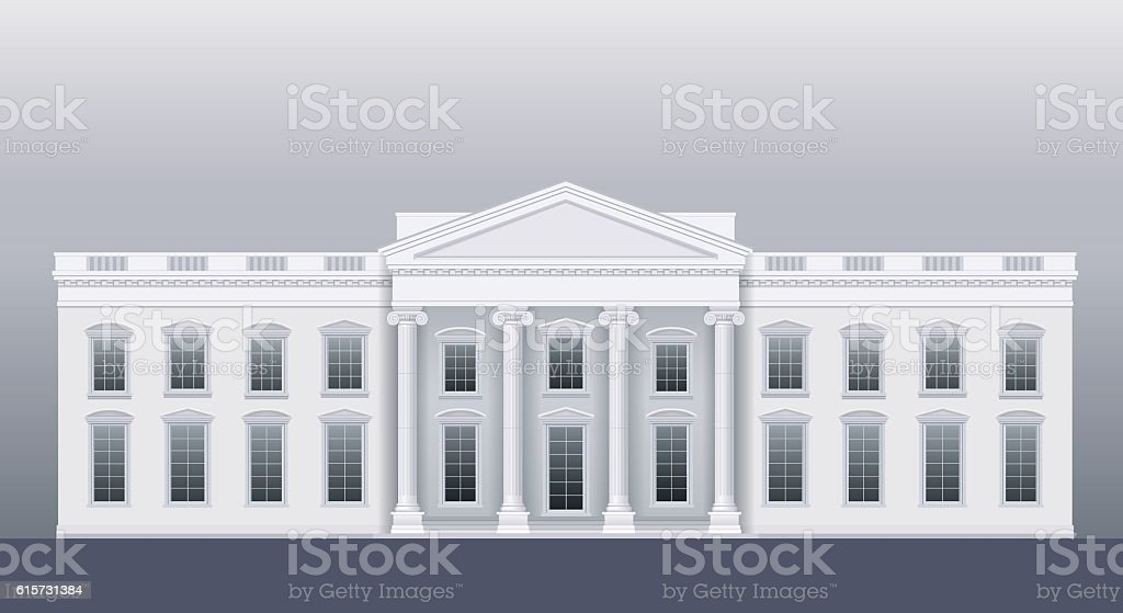 White classic house vector art illustration