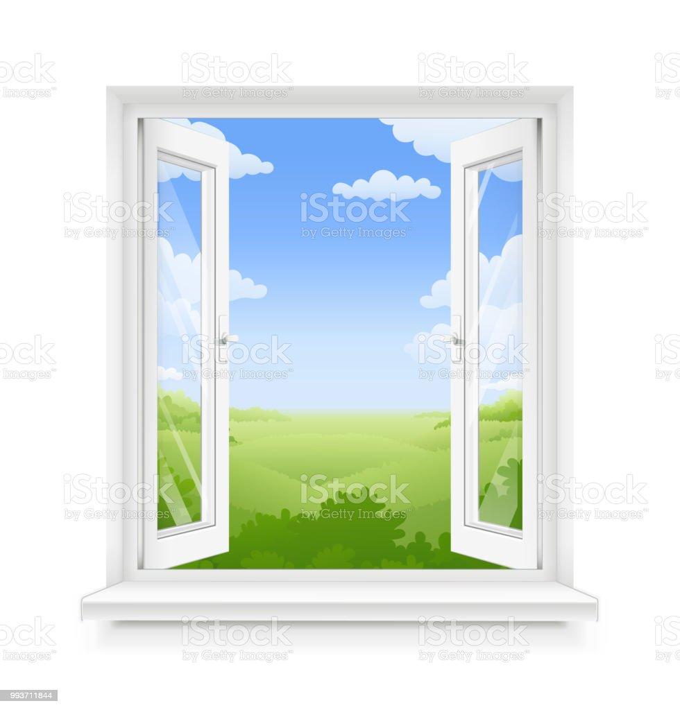 Weisse Klassische Kunststofffenster Mit Fensterbrett Stock Vektor Art
