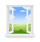White classic plastic window with windowsill