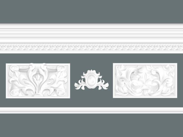weiße klassische relief und gesims set isoliert, architektonische elemente gesetzt - gesims stock-grafiken, -clipart, -cartoons und -symbole