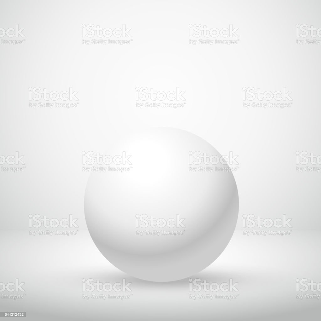 white clean sphere in empty room