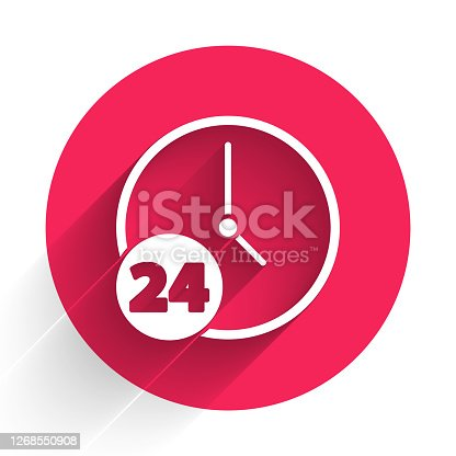 istock White Clock 24 hours icon isolated with long shadow. All day cyclic icon. 24 hours service symbol. Red circle button. Vector Illustration 1268550908