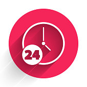 White Clock 24 hours icon isolated with long shadow. All day cyclic icon. 24 hours service symbol. Red circle button. Vector Illustration