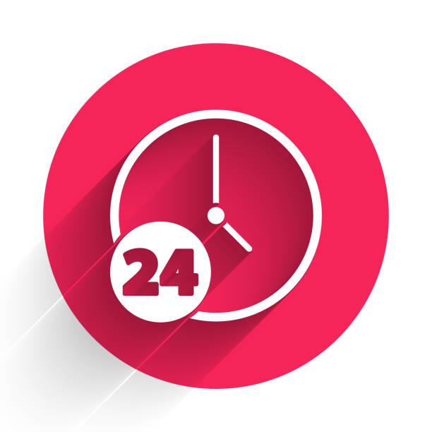 ilustrações de stock, clip art, desenhos animados e ícones de white clock 24 hours icon isolated with long shadow. all day cyclic icon. 24 hours service symbol. red circle button. vector illustration - ucrânia