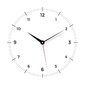 White clock face with black and red pointer on white