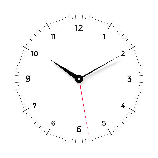White clock face with black and red pointer on white vector art illustration