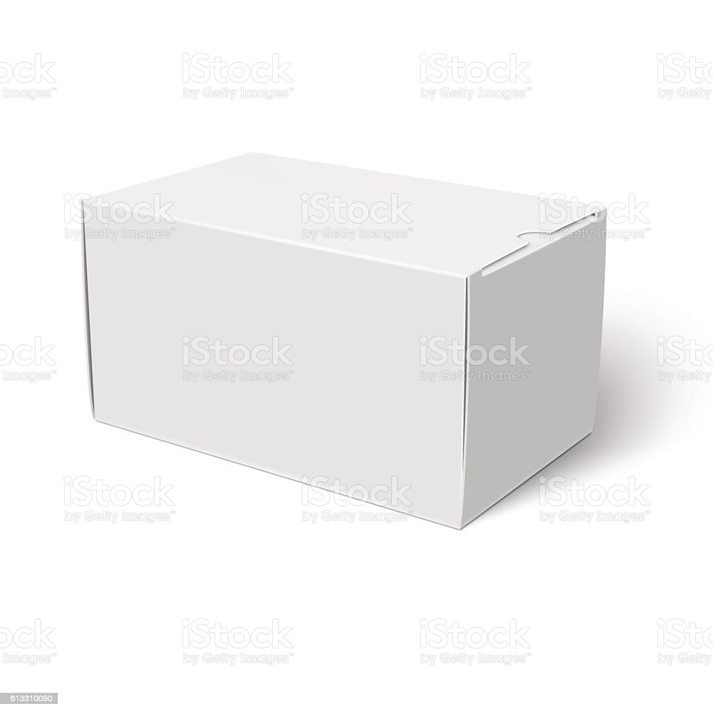 White Closed Cardbox Box Template Stock Vector Art More Images Of