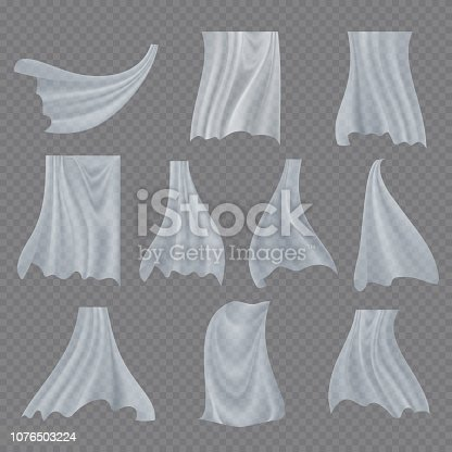 White Cloth Set Vector. Billowing Clear Curly Curtain Transparent White Cloth. Fluttering Curved Fabric Silk. Window Home Decoration. Realistic Material Illustration