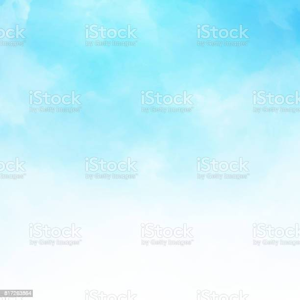 White cloud detail in blue sky vector illustration background with copy space