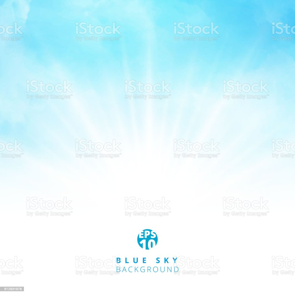 White cloud detail in blue sky with lighting blank copy space for your text vector art illustration