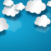 White clouds with shadow on blue sky background