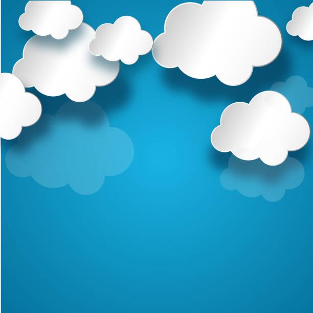 ilustraciones, imágenes clip art, dibujos animados e iconos de stock de nube blanco en fondo azul - nube
