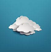 white cloud on blue background. vector illustration