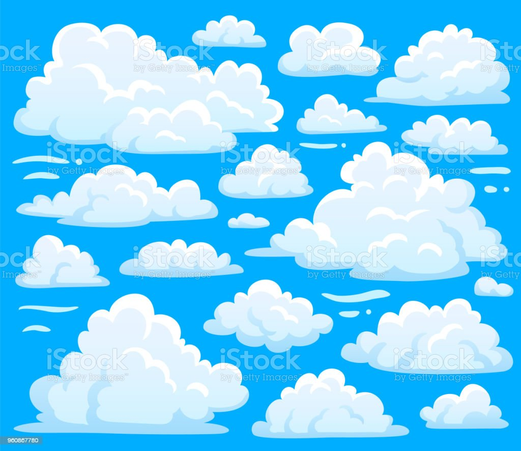 White cloud symbol for cloudscape background. Cartoon clouds symbols set for cloudy sky climate illustration vector vector art illustration