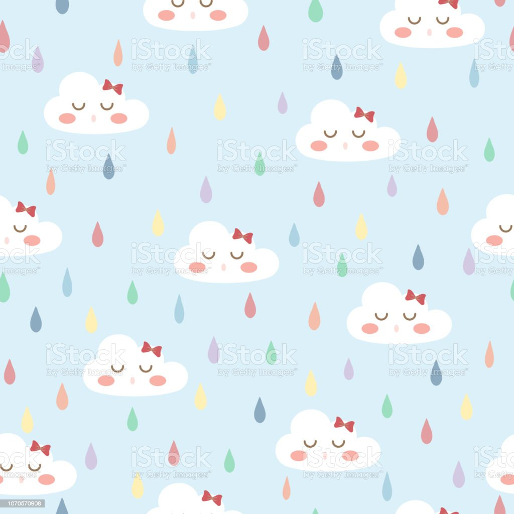 White Cloud With Cute Face On Pastel Blue Background And