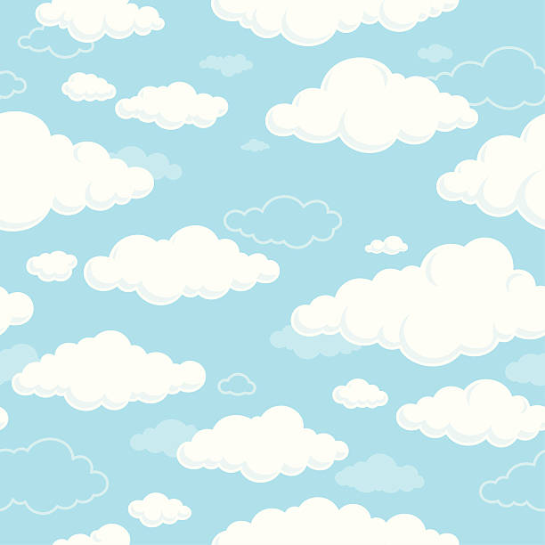 Weiße Wolken und blauer Himmel nahtlos – Vektorgrafik