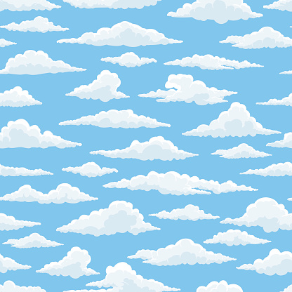 White clouds blue sky seamless pattern