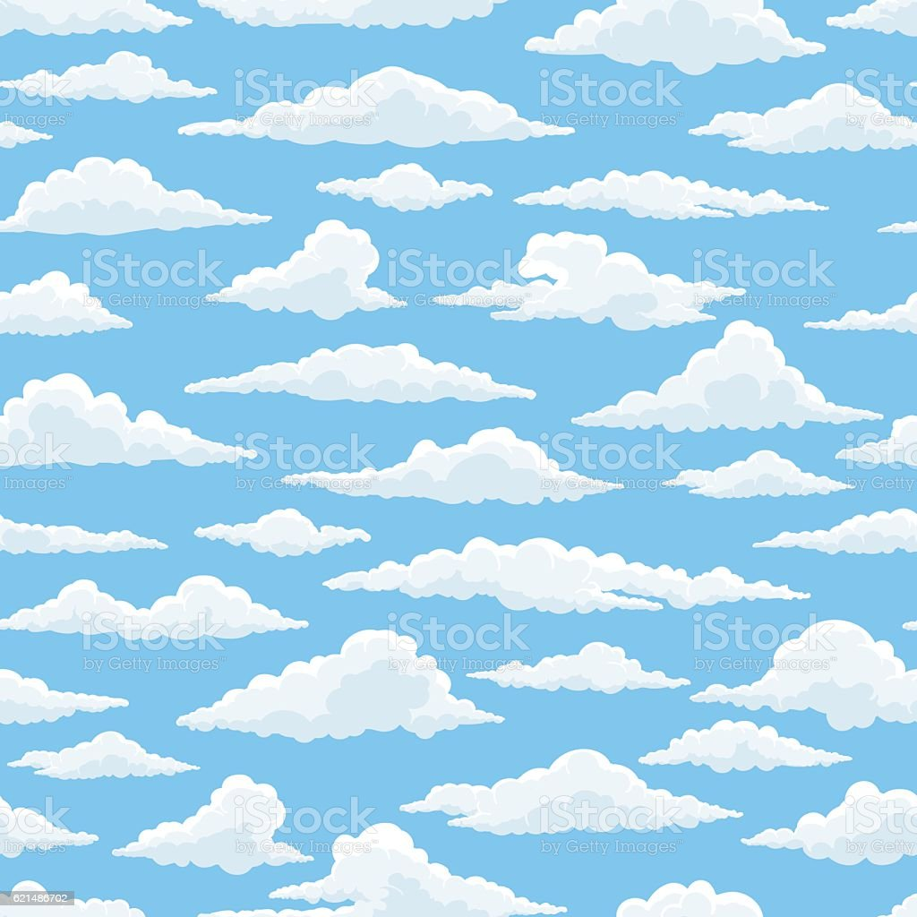 White clouds blue sky seamless pattern vector art illustration