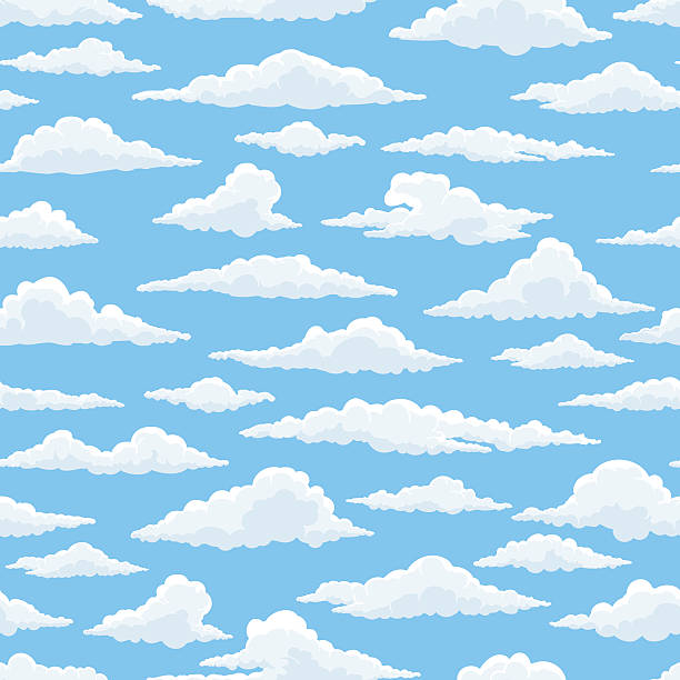 white clouds blue sky seamless pattern - clouds stock illustrations