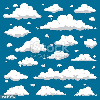 White Clouds isolated on Dark Blue Sky - Cartoon Vector Set
