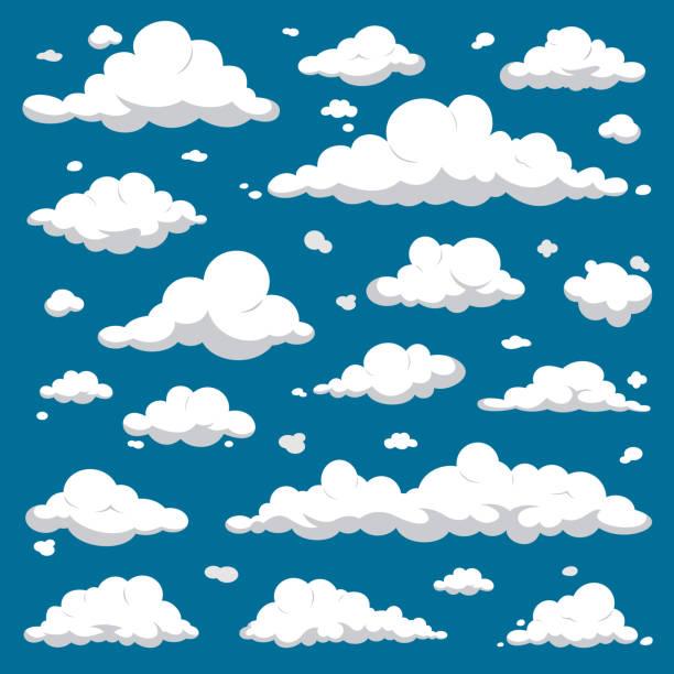 białe chmury izolowane na ciemnoniebieskim niebie - cartoon vector set - chmura stock illustrations