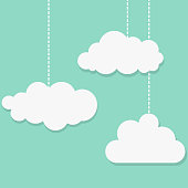 White clouds on blue background . Vector illustration.
